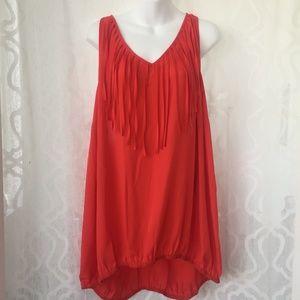 City Chic Orange Red Fringe Top Size XL